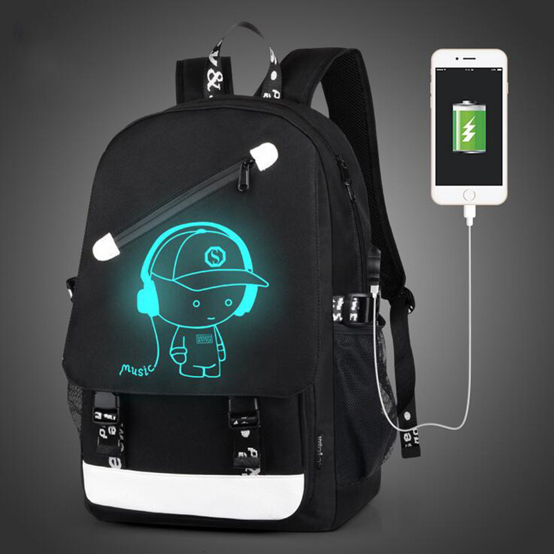Senkey Style Cartoon USB Backpack Women Anime Luminous Teenagers School Bags For Teenagers Famous Brands Designer Men Backpack