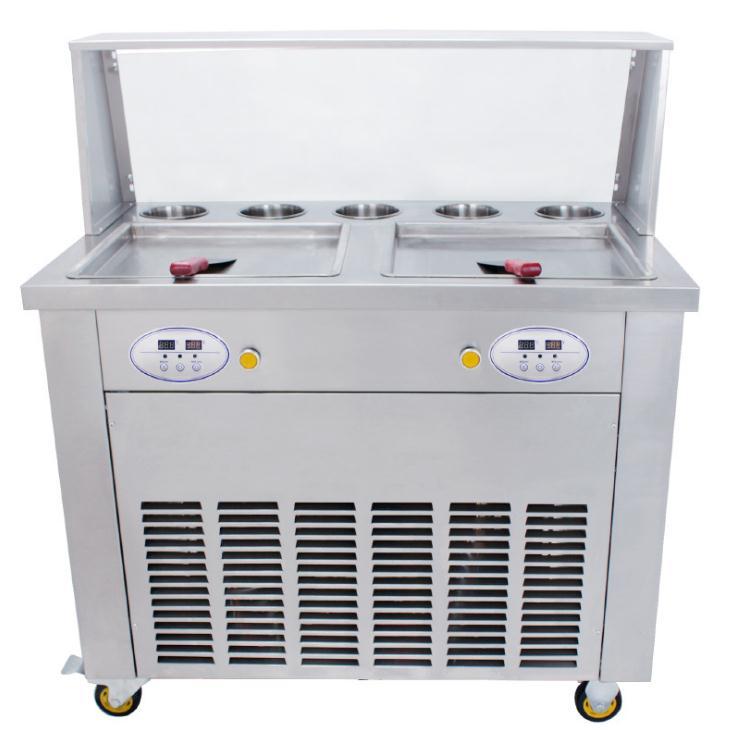 Casseroles carrées doubles avec 5 réservoirs de garniture de la machine de rouleau de crème glacée frite de thaïlande avec le réfrigérant R410A