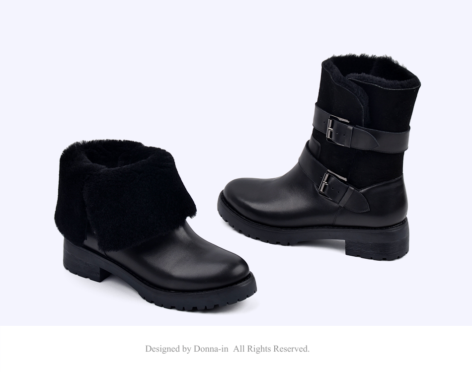 DONNA-IN 2017 winter new styles real fur mid-calf boots thick outsole metal buckle women boots warm wool low heel snow boots 838-702 (15)