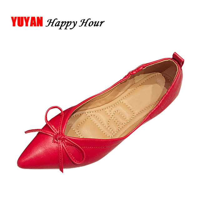 0a0538929f07 Soft Leather Flats Shoes Women Boat Shoes Pointed toe Women s Flats Red  Black Office Ladies Brand