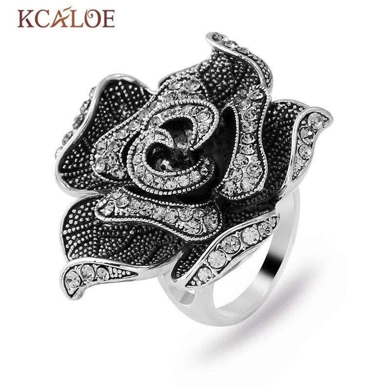 6ed14d1a40d0 Anillo de flores KCALOE Chapado en plata boda compromiso nupcial cristal  cúbico Zirconia anillos ...