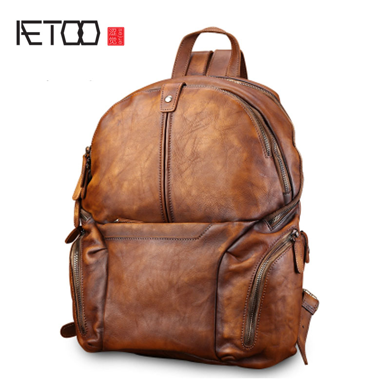 AETOO Retro casual leather bag male fashion trend men's backpack large capacity backpack men's travel aetoo retro leatherbackpack bag male backpack fashion trend new leather travel bag