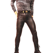 New Sexy Men Faux Leather Matte Pencil Pants Skinny Pants Casual Leggings Slim Fit Tight Gay Club Dance Wear FX1160