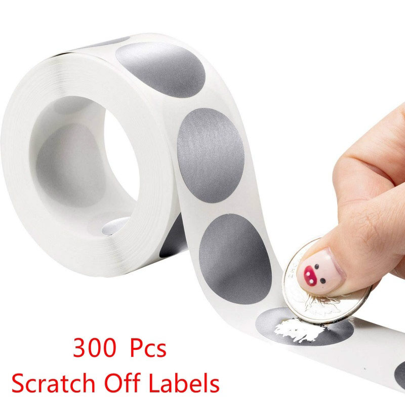300Pcs Round Scratch-Off Stickers 1 Inch Scratch Off Labels Sticker For Scrapbooking Decoration Gift Stationery Sticker (Silver)