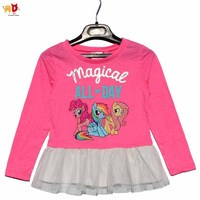 AD Pony Girls T Shirts Mesh Lap Kids Tops Outwear For Spring Children S Clothing Unicorn