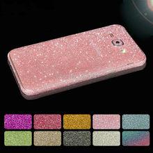 Moda glitter adesivo frente tampa traseira para samsung galaxy a3 a5 a7 J1 J3 J5 J7 2016 Grand Prime Borda Mais Telefone S6 S7 casos