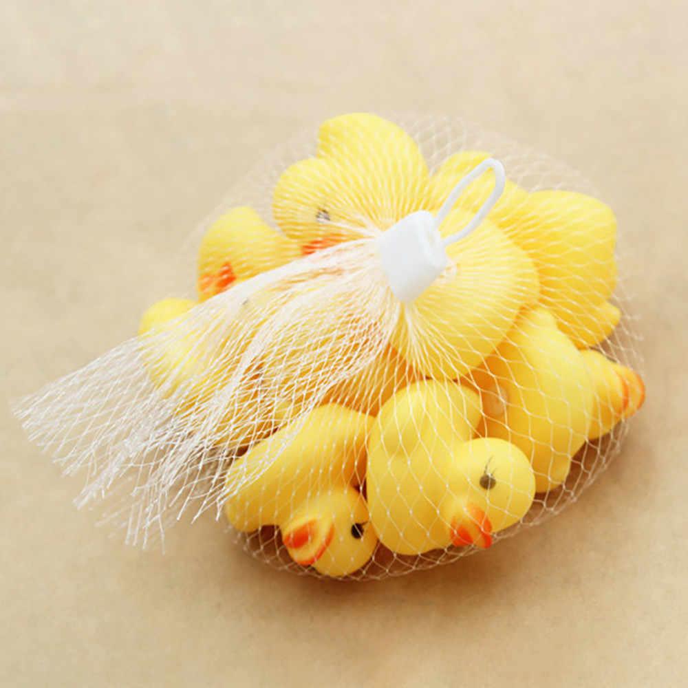 10 Pcs/Tas Mandi Mainan Hewan Renang Air Mainan Mini Warna-warni Soft Floating Bebek Karet Pencet Suara Hadiah Lucu untuk Bayi anak-anak
