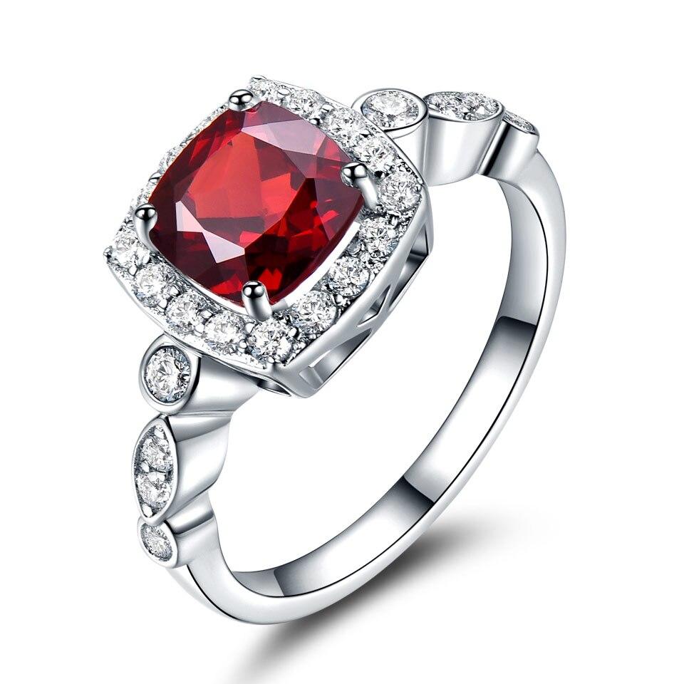 Image 2 - UMCHO Genuine 925 Sterling Silver Birthstone Ring Created Nano Topaz Garnet Amethyst CZ Rings Engagement For Women Fine JewelryRings   -