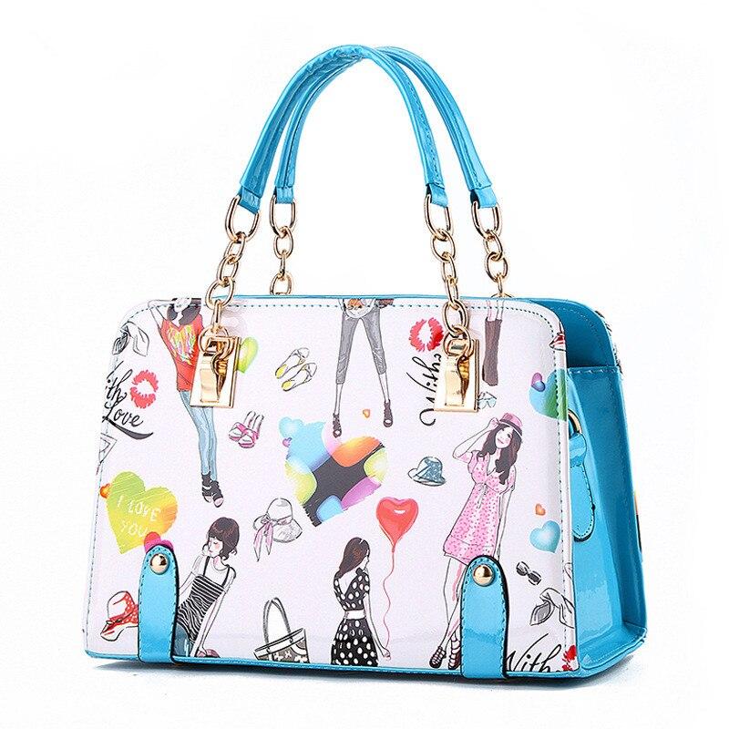 High Quality PU Women Handbag Shoulder Bag Sky Blue Shoulder Strap Reglable Crossbody Messenger Cartoon Beauty Pattern blue sky чаша северный олень
