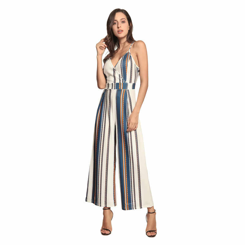 plus size rompers womens jumpsuit 2019 loose wide leg striped jumpsuit one piece outfit casual v-neck backless rompers DC18634