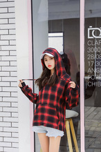 M womens 2019 new Korean version of the college wind loose plaid hoodie hooded thin section fashion