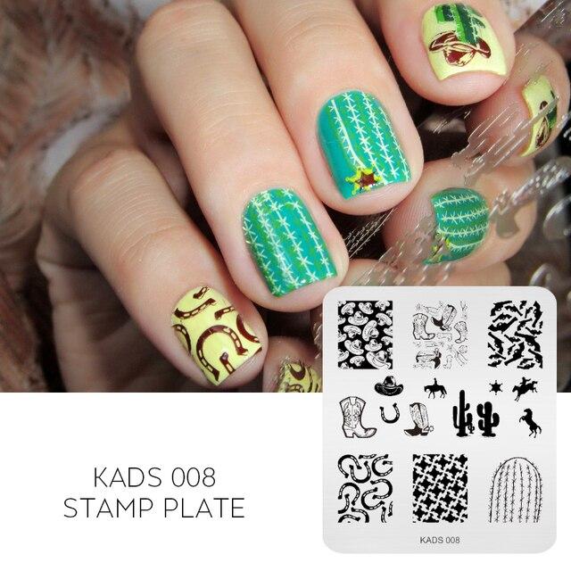 KADS New Creative Cactus&Boots&Gun Design Nail Art Stencil Nail ...