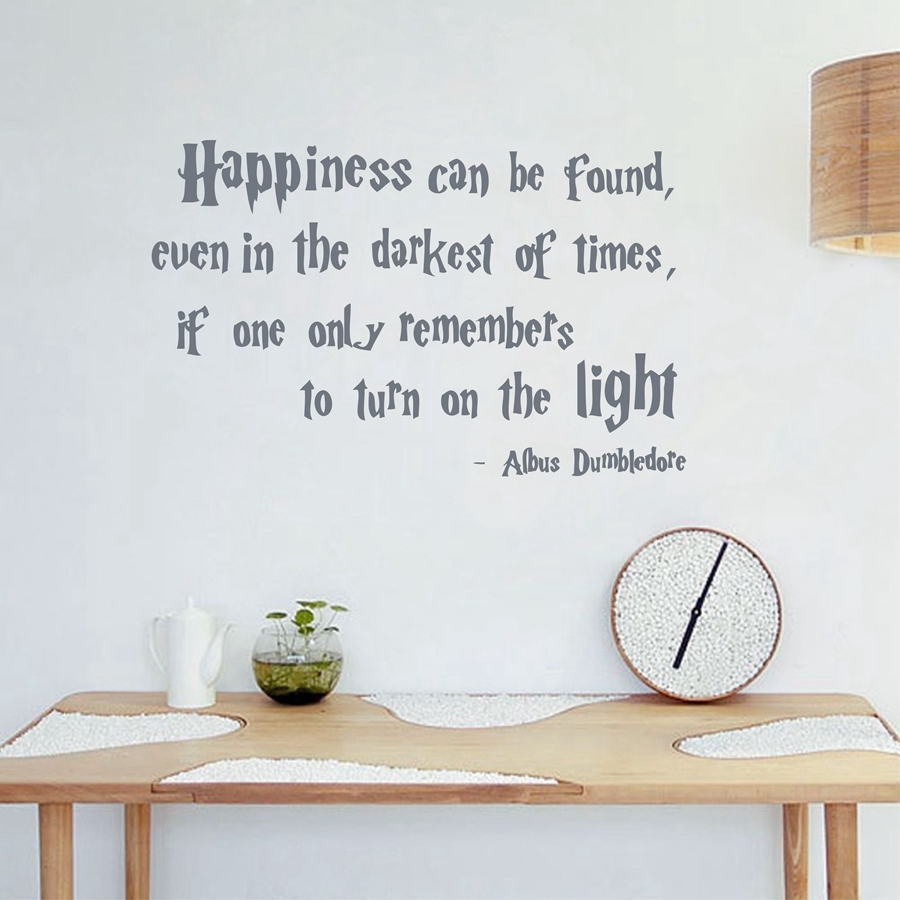 Us 4 96 10 Off Harry Potter Quotes Wall Decal Happiness Can Be Found Albus Dumbledore Saying Hp Movie Vinyl Sticker Boy Kids Wall Sticker In Wall