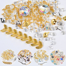 Sizes Mixed Crystal Strass Caviar Chain Nail Art Decorations 3D Rhinestones Beads DIY Jewelry Box Beauty Nails Accessoires