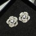 High quality Korean new fashion 100% copper CZ diamonds flower stud earrings Party jewelry for women