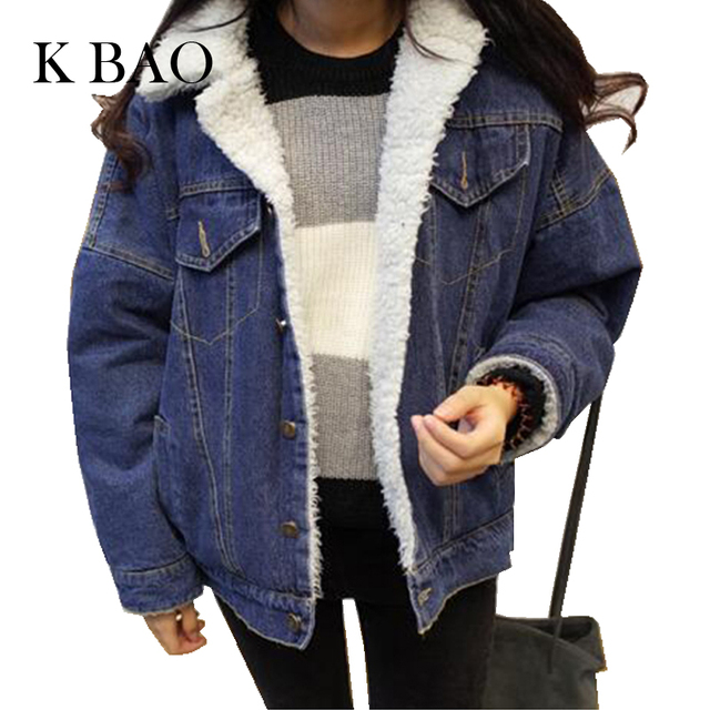 2017 Woolen women Jeans Bomber Jacket Thicken the lambs wool denim jacket Suit women jeans jackets Warming Outerwear