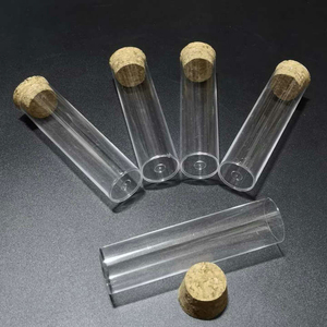 Image 3 - 50pcs/lot 25x95mm Flat bottom Plastic Test Tube with cork stoppers for kinds of Laboratory glassware