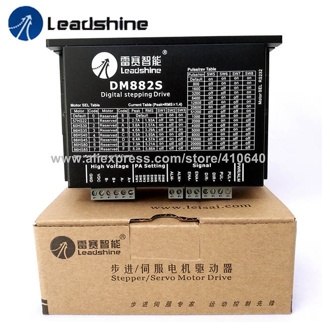 2 Phase GENUINE Leadshine Digital Stepper Motor Drive DM882S Updated from AM882 Match for 57HS22 60HS30 86HS35 to 86HS85 Stepper