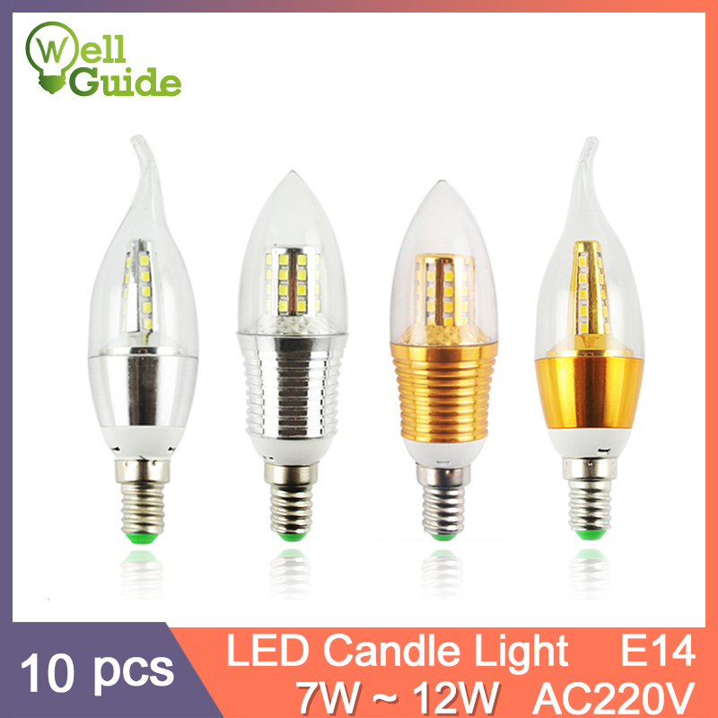 10Pcs LED Bulb E14 Aluminum Golden Light AC220V Led Lamp Cool WarmWhite Candle 9W 12W Lampada Bombillas Lumiere Lampara