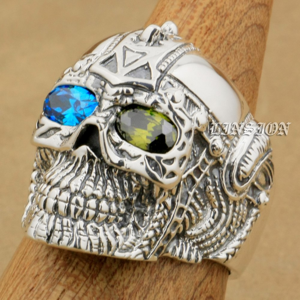 US Size 8 ~ 15 Blue + Green CZ Eyes 925 Sterling Silver Gothic Tattoo Skull Mens Boys Biker Rock Punk Ring 9G405 green cz eye 925 sterling silver skull ring mens biker punk style 8v306a us 8 15
