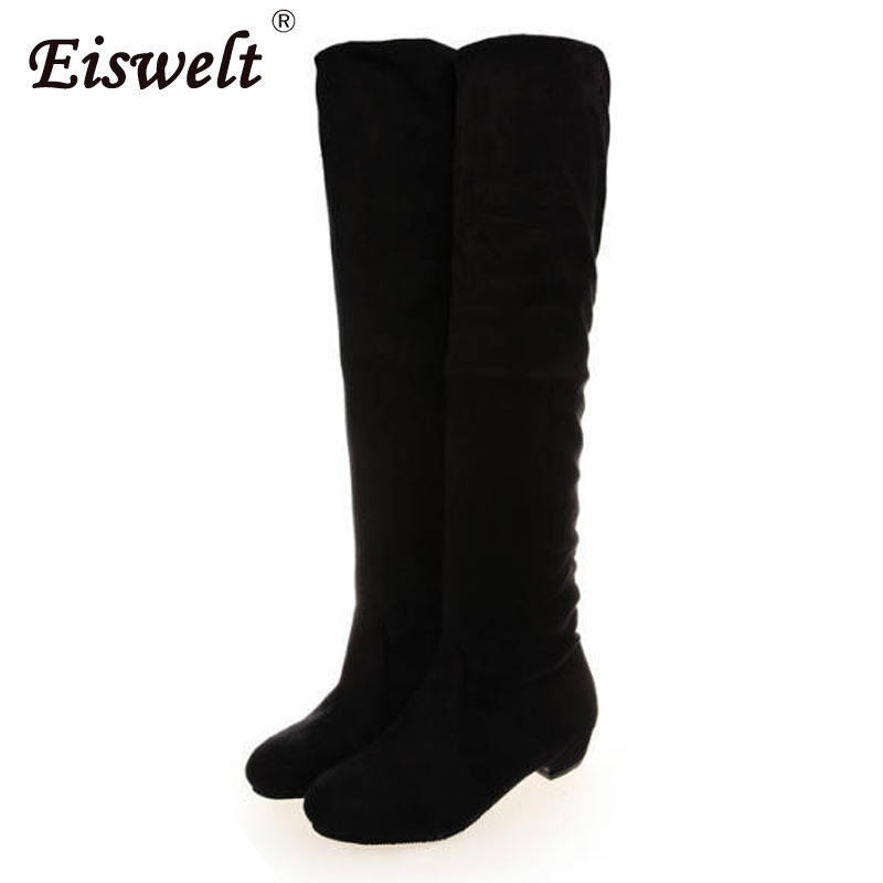 EISWELT Shoes Woman Boots Knee High Mid-calf Women Boots Fashion Sexy Boots Slip-on Heel Shoes Winter Boots Female Plush#ZQS079 gladiator lady mid calf cowboy flats boots shoes round toe fringed slip on fashion boots leather long sexy boots shoes free ship