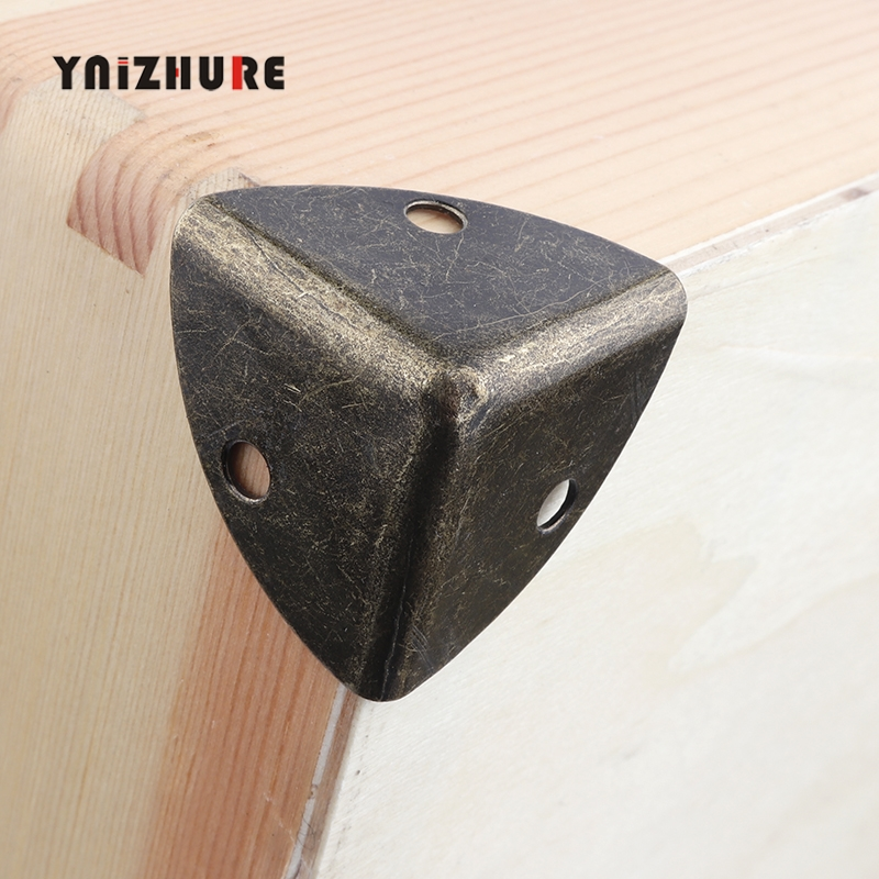 Antique Style Metal Box Corner Iron Protection Case Edge Guard Corner Cover Reinforced Decorative Bronze Tone 25*25*25mm 4Pcs