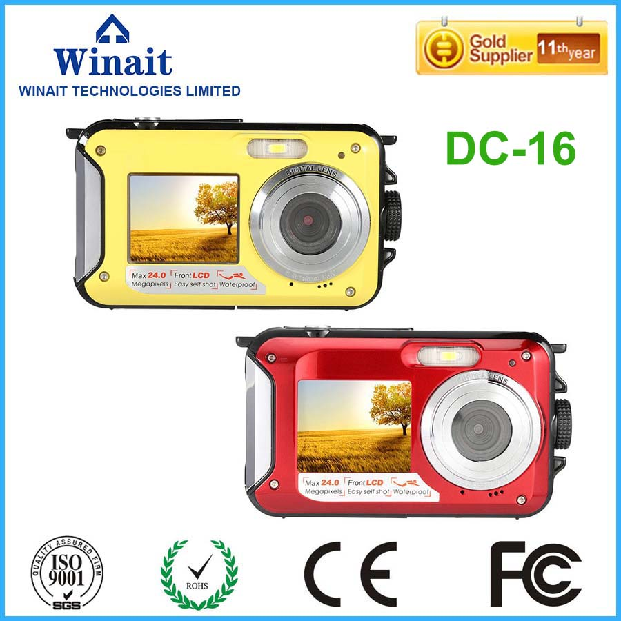 ФОТО Hottest High Quality 2.7inch TFT Digital Camera Waterproof 24MP Max 1080P Double Screen 16x Digital Zoom Camcorder Wholesale