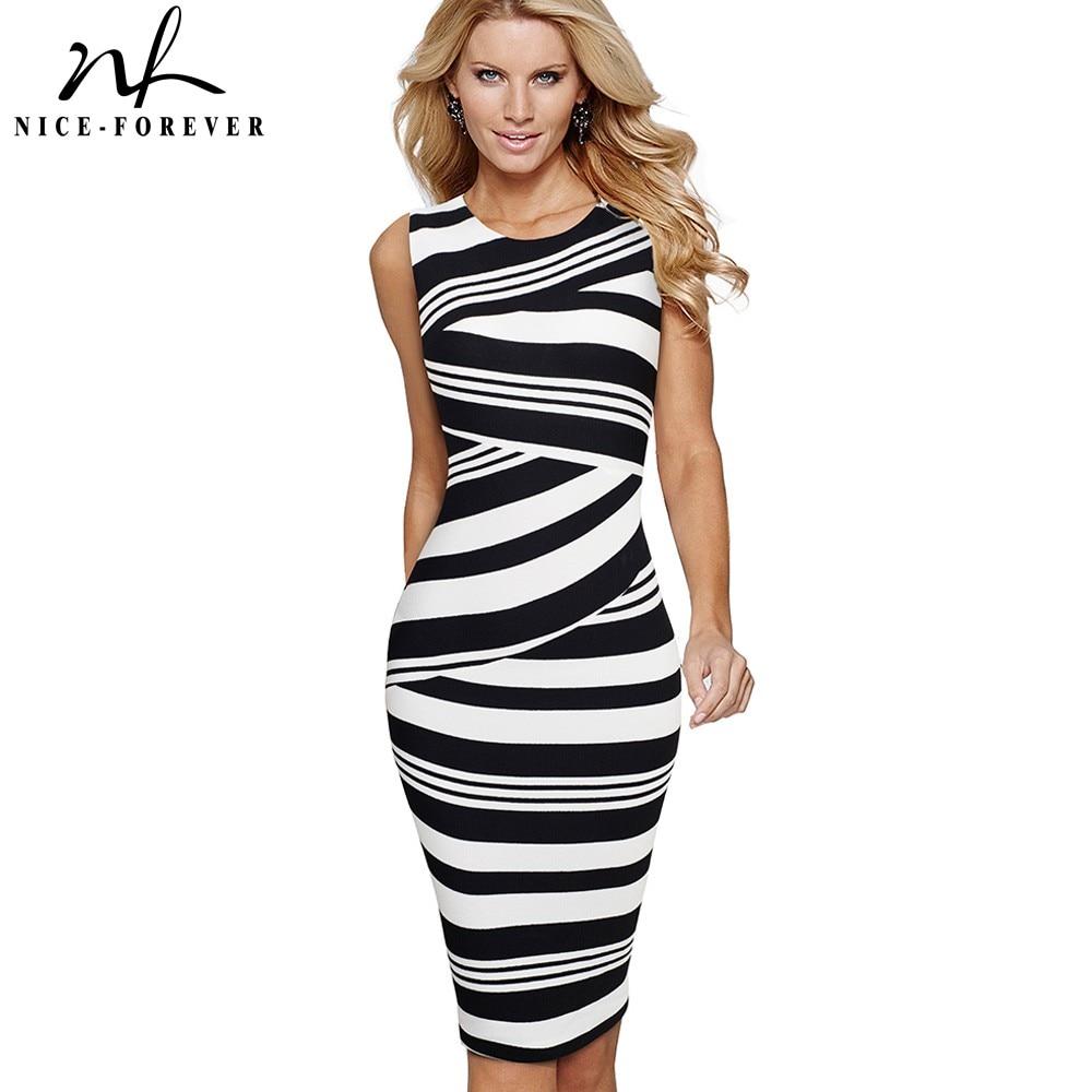 Nice-Forever Vintage Stripes Printed Wear To Work Summer Vestidos Business Bodycon Office Elegant Women Dress B510