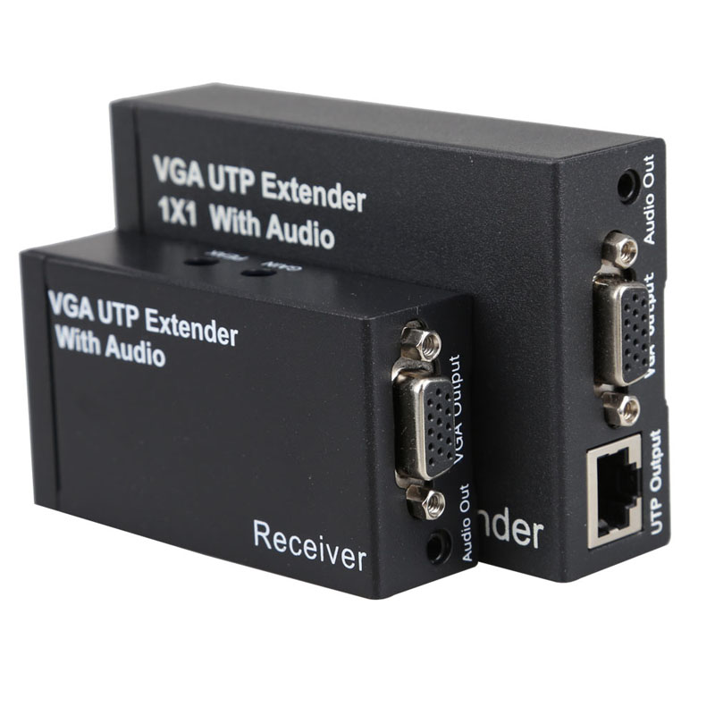 New Dual Video VGA UTP 1x1 Splitter Extender with Audio up Cat5 6 to 300M VGA