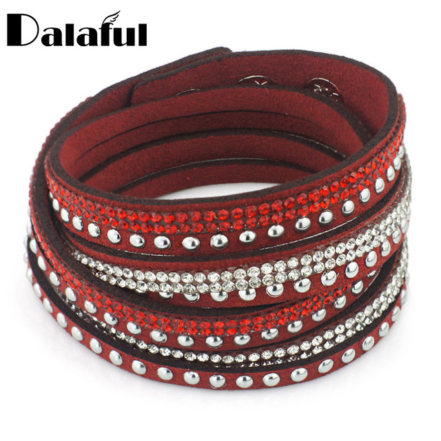 Double Wrap Crystal Beads Leather Bracelets Bangles Ons Adjust Size Summer For Women S334
