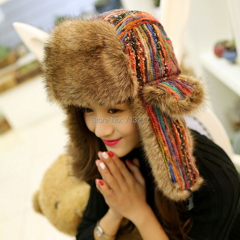 2017 Winter Warm Trapper Hat Earflap Earmuffs Caps Winter Wanita Aviator Hat menebal Perlindungan Telinga Bomber Hat berwarna Bomber