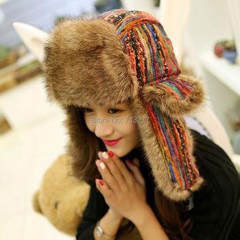 2017 invierno cálido Trapper Gorro con orejeras casquillos de orejeras de las mujeres de invierno aviador sombrero espesar oído protección bombardero sombrero de color Bomber