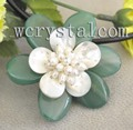 Green Jade Agate Sea Shell White Cultured Pearl Flowe Necklace Pendant