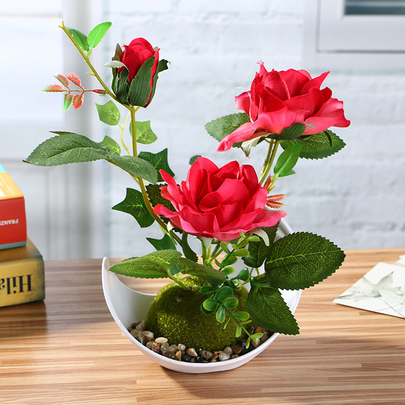 Rtificial Flower Rose Bonsai Simulation Plant Potted Decoration Creative Home Decoration Wedding New Year Decoration