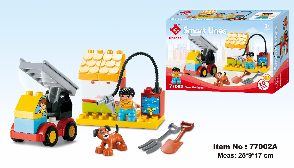 SMONEO 20pcs 77002A DIY Smart Line Brave Firefighter Car Story Big Size Building Blocks Bricks Baby Toy Fit for Lego for Duplo