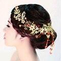 2016 Moda hecha a mano de Oro Magníficos Tiaras Nupciales headwear Macrame Cristal Rojo Pelo de La Boda accesorios de la joyería al por mayor