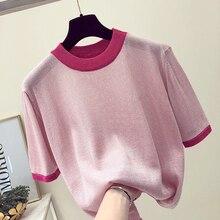 Summer Women Shiny Knitted T Shirt Top Tees Short Sleeve O Neck Casual T-Shirts Sexy bling Knitwear Basic Elastic T-shirt pink