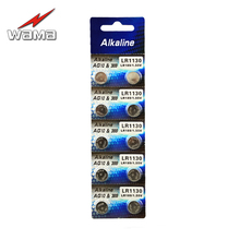 10pcs/pack Wama AG10 1.5V Button Cell Coin Batteries 389 SR54 LR54 SR1130W Akaline Watch Disposable Battery