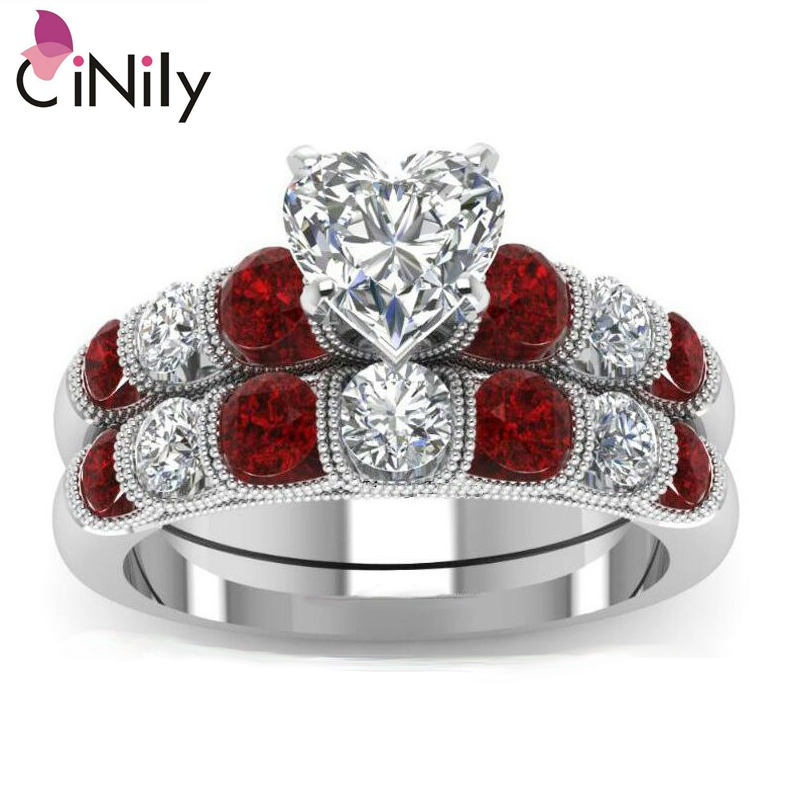 Cinily Jewelry Ring-Size Wedding-Engagement Silver-Plated Heart White Women Zirconia