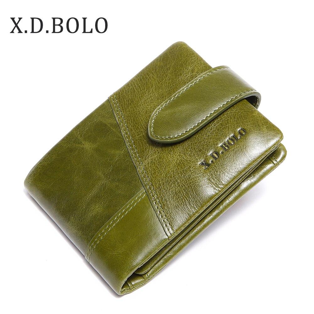 X.D.BOLO Short Woman Wallet Hasp Womans Wallet For Money Genuine Leather Women Purses Zipper Ladies Leather Wallets