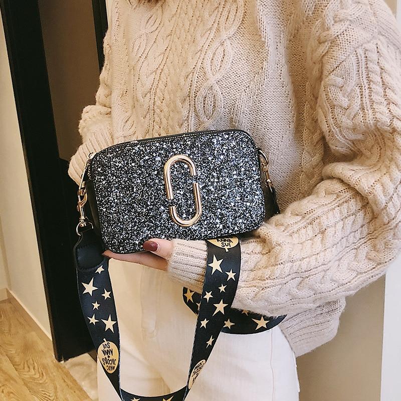 2019 Moda de Nova Ladies Lantejoula Quadrado saco Bolsa De Grife De Luxo de Alta qualidade PU de Couro das Mulheres Ombro Mensageiro saco Preto