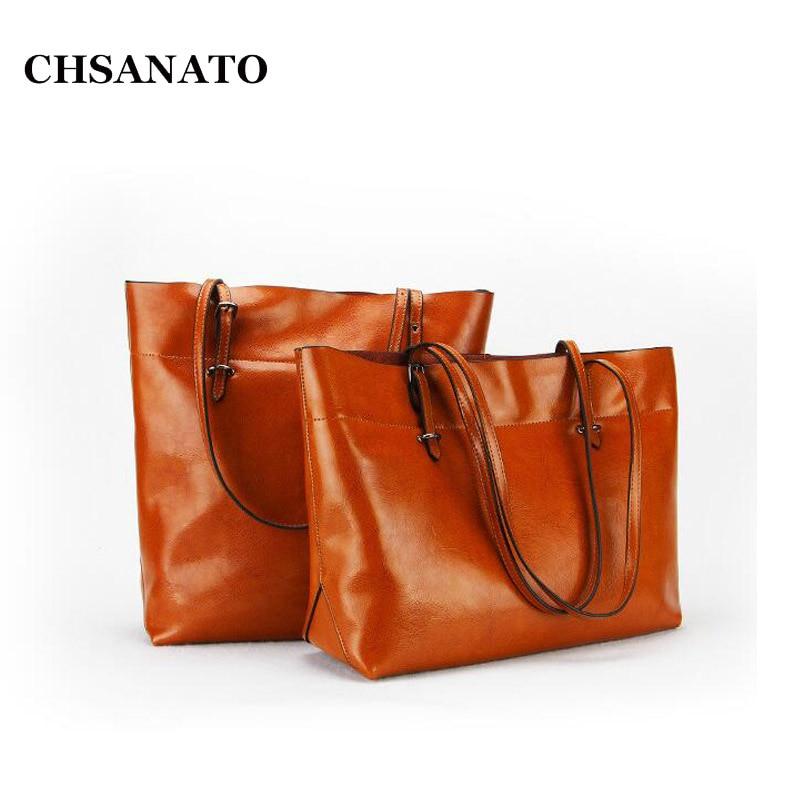 CHSANATO 2 Version Large Capacity Women Bags Shoulder Tote Bags Bolsos Oil Wax Leather Designers Handbags Ladies Shopping Purses