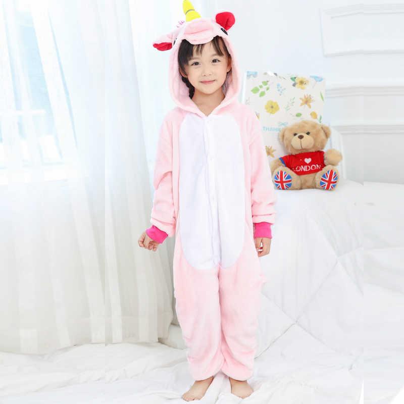 ... Пижамы для мальчиков и девочек Единорог детские пижамы комплект унисекс из  фланели Детские розовые звезды пижамы ... 1189411344ebd