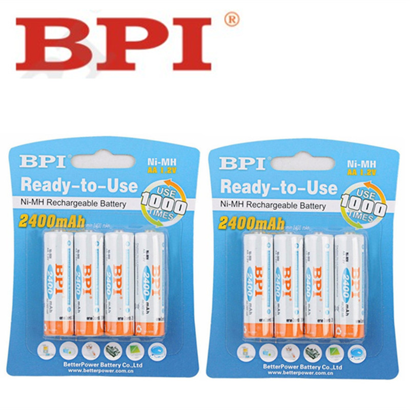 8pcs 100% genuine original BPI 2400mAh NiMH AA rechargeable batteries, high-quality toys, cameras, flashlights and battery  genuine original computers batteries new for d ell adamo 13 battery n572j p715m k742j cn 0k742j black and silver 6cell