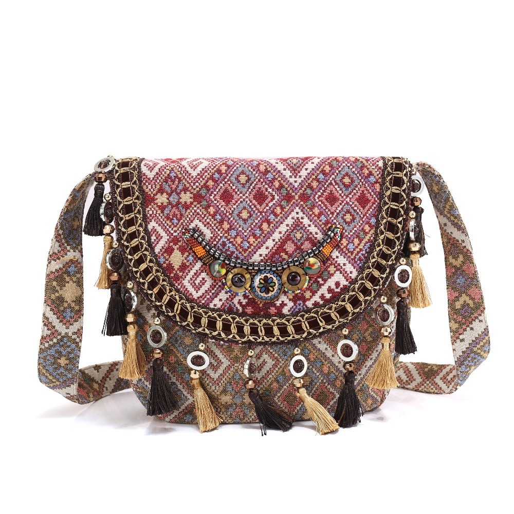 National shoulder bag BOHO Women cambric fabric handbag hippie tassels beading Tribal Vintage embroidery ethnic handmade bags vintage chinese hmong tribal ethnic thailand indian boho handmade embroidery bell shoulder messenger tote bag sac a dos femme