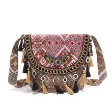 af63e73ae143 National shoulder bag BOHO Women cambric fabric handbag hippie tassels  beading Tribal Vintage embroidery ethnic handmade