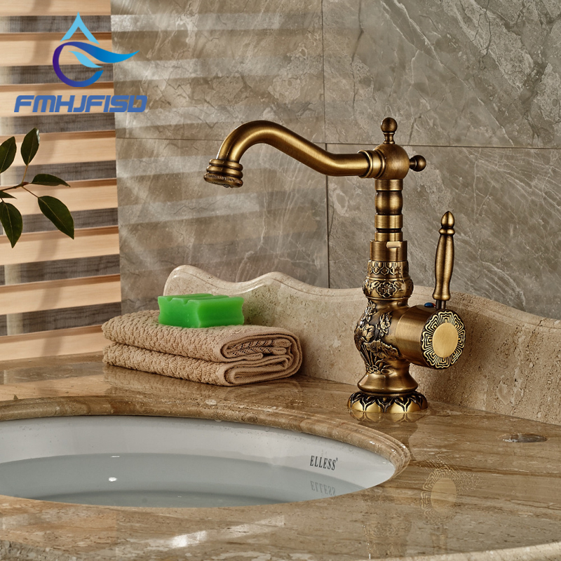 Deck Mounted Antique Brass Bathroom Basin Faucet Single Handle Hole Mixer Tap Carved Faucet wholesale and retail deck mounted bathroom basin faucet single handle hole wash basin solid brass tap golden finish