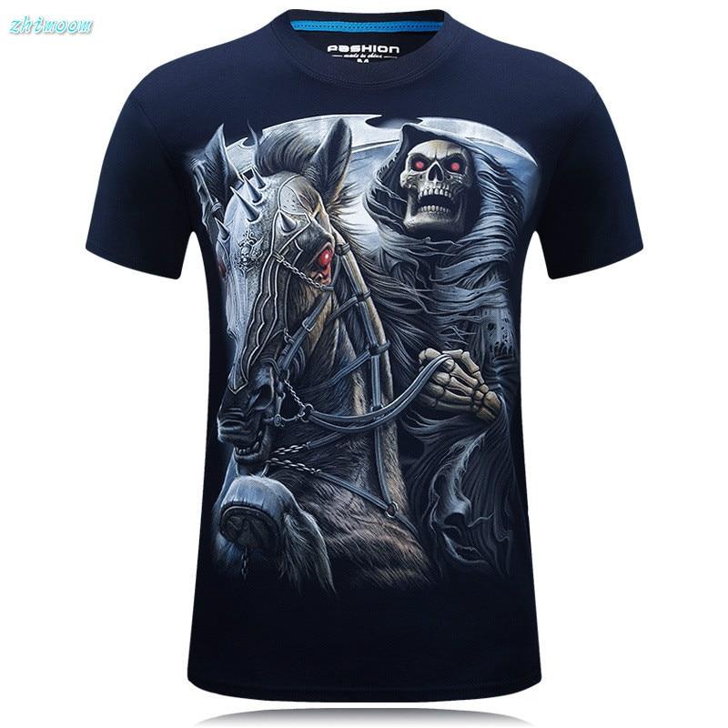 T Shirt Boys Summer 2017 Men T-shirts Fashion O-neck Short Sleeve Cotton 3D Iron Horse Skull Printed Tee Tops Kids Clothes