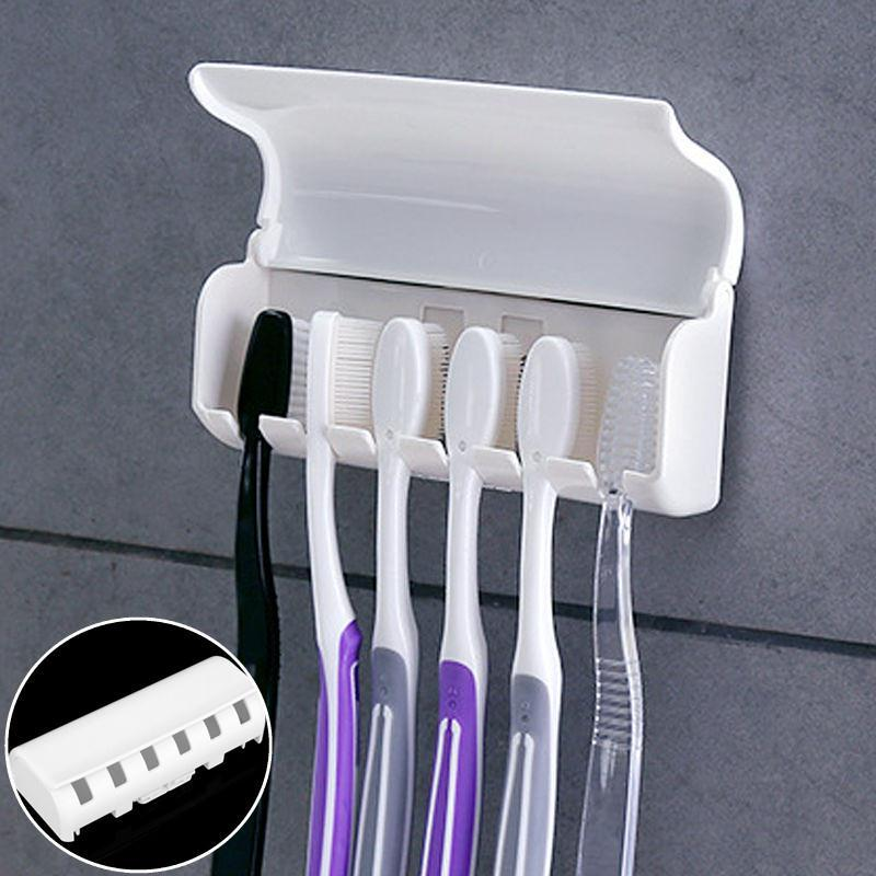 Home Bathroom Toothbrush SpinBrush Suction Holder Mount New Family Storage Box Modern Toothpaste Worker Storage image