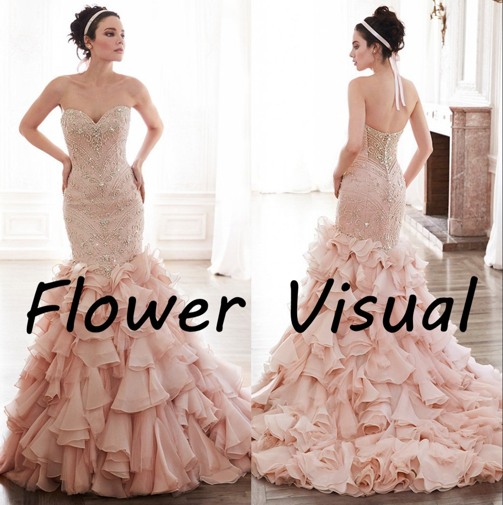 Mermaid pink wedding dresses